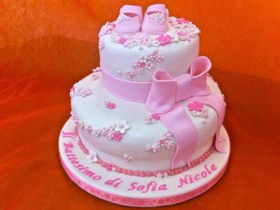 Torta creativa in Pasta di Zucchero per il battesimo di Sofia Nicole